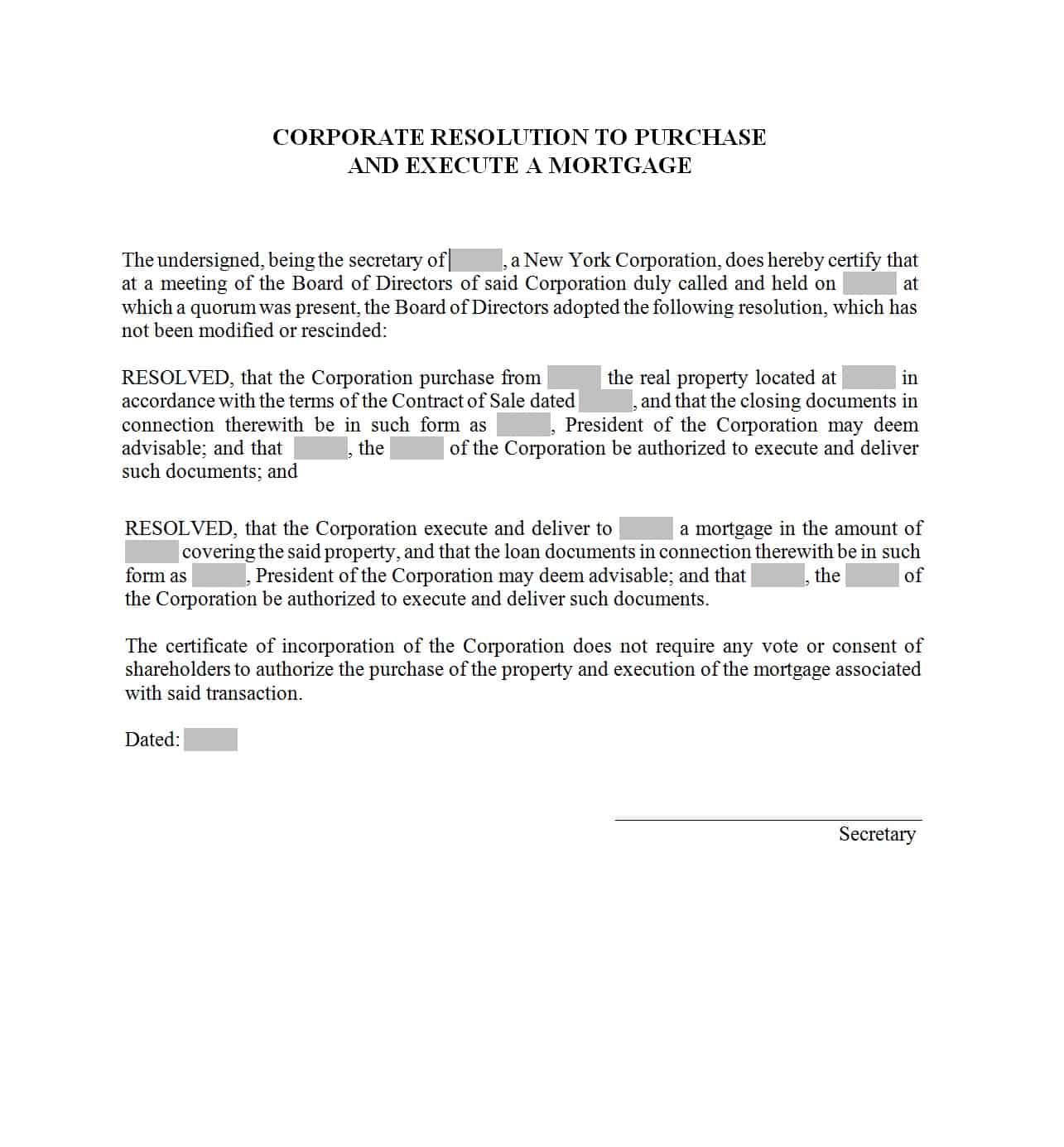 37 Printable Corporate Resolution Forms - Template Lab - Free Printable Legal Documents Forms