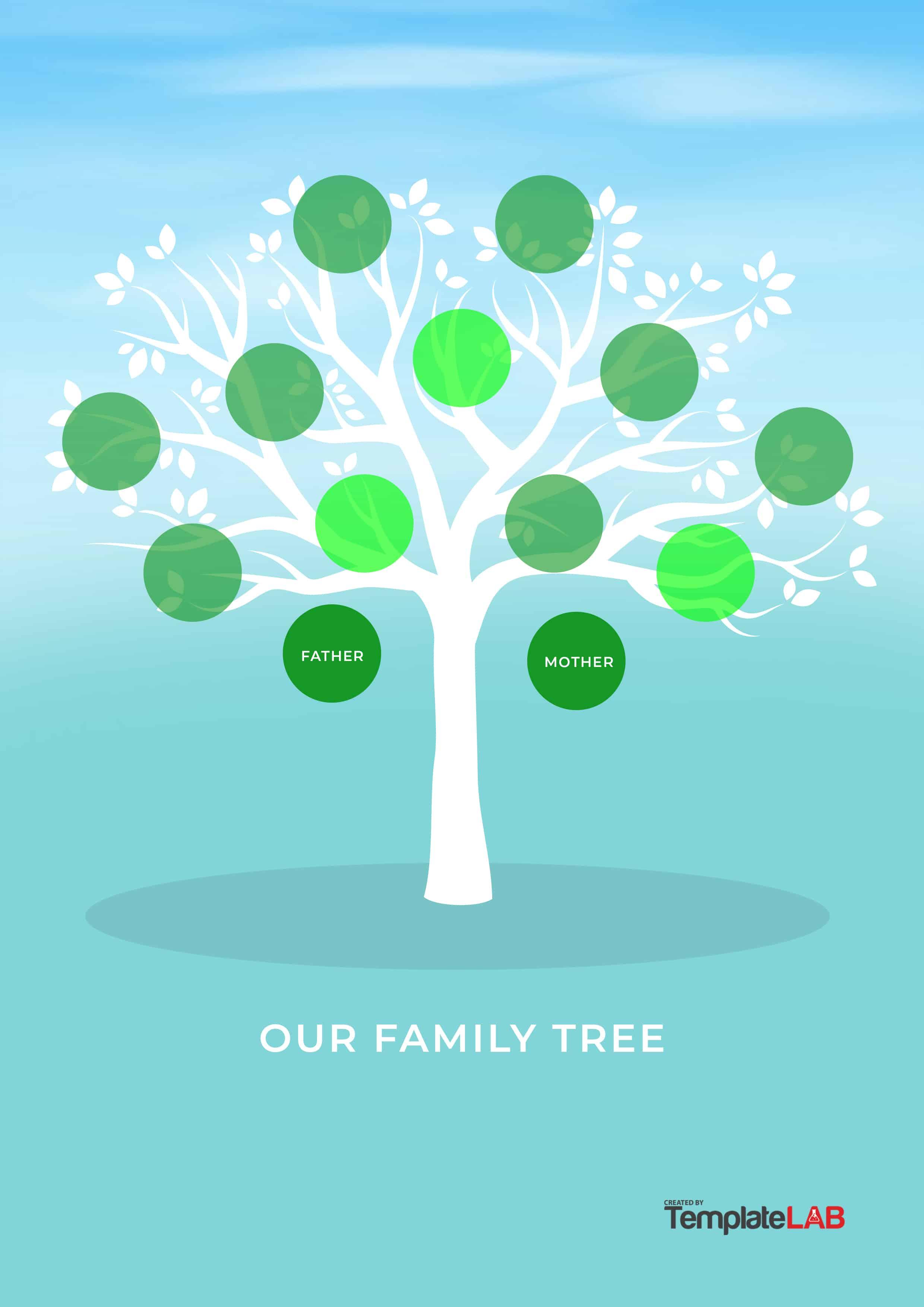 50+ Free Family Tree Templates (Word, Excel, Pdf) - Template Lab - Free Printable Family Tree Template