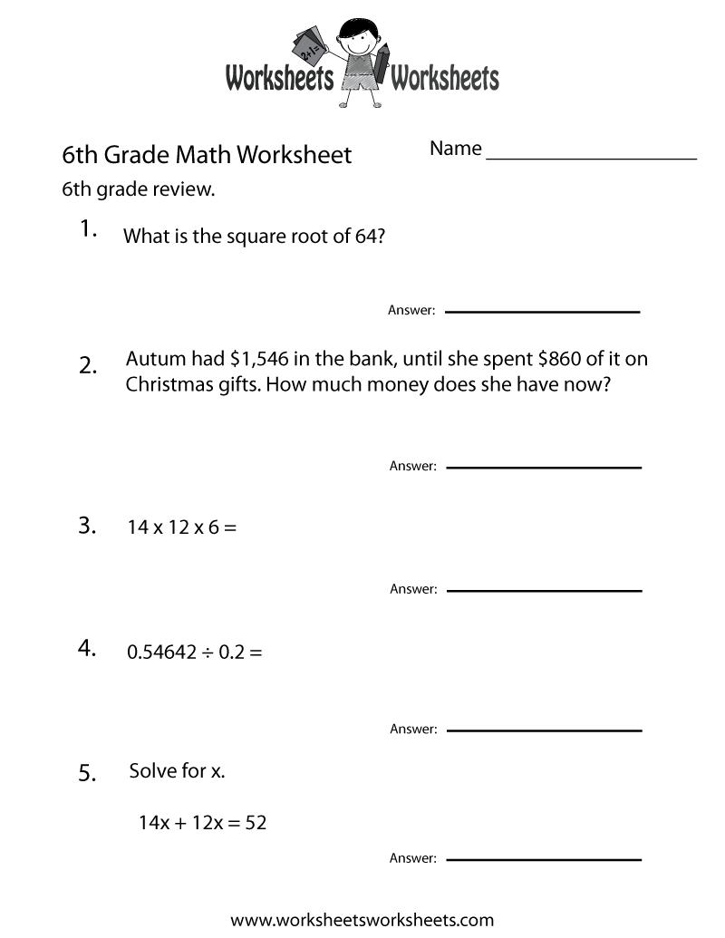6 Grade Math Worksheets | Sixth Grade Math Practice Worksheet - Free - Free Printable 7Th Grade Vocabulary Worksheets