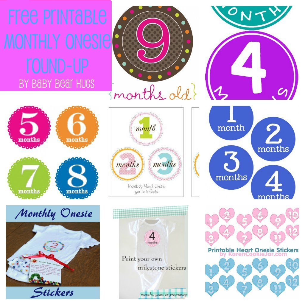 7 Free Printable Month Stickers Round-Up | Kiddos | Free Printables - Free Printable Baby Month Stickers