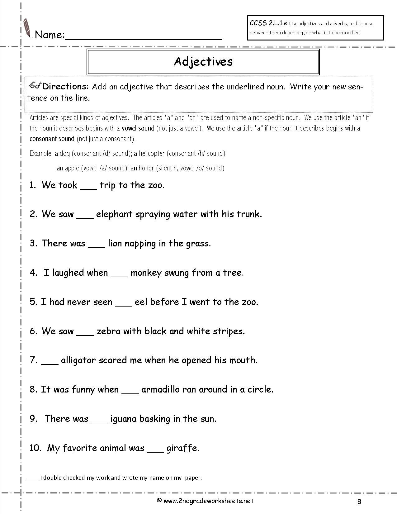 A Or An Worksheet For Grade 2 - Google Search   Education - Free Printable Grammar Worksheets For 2Nd Grade