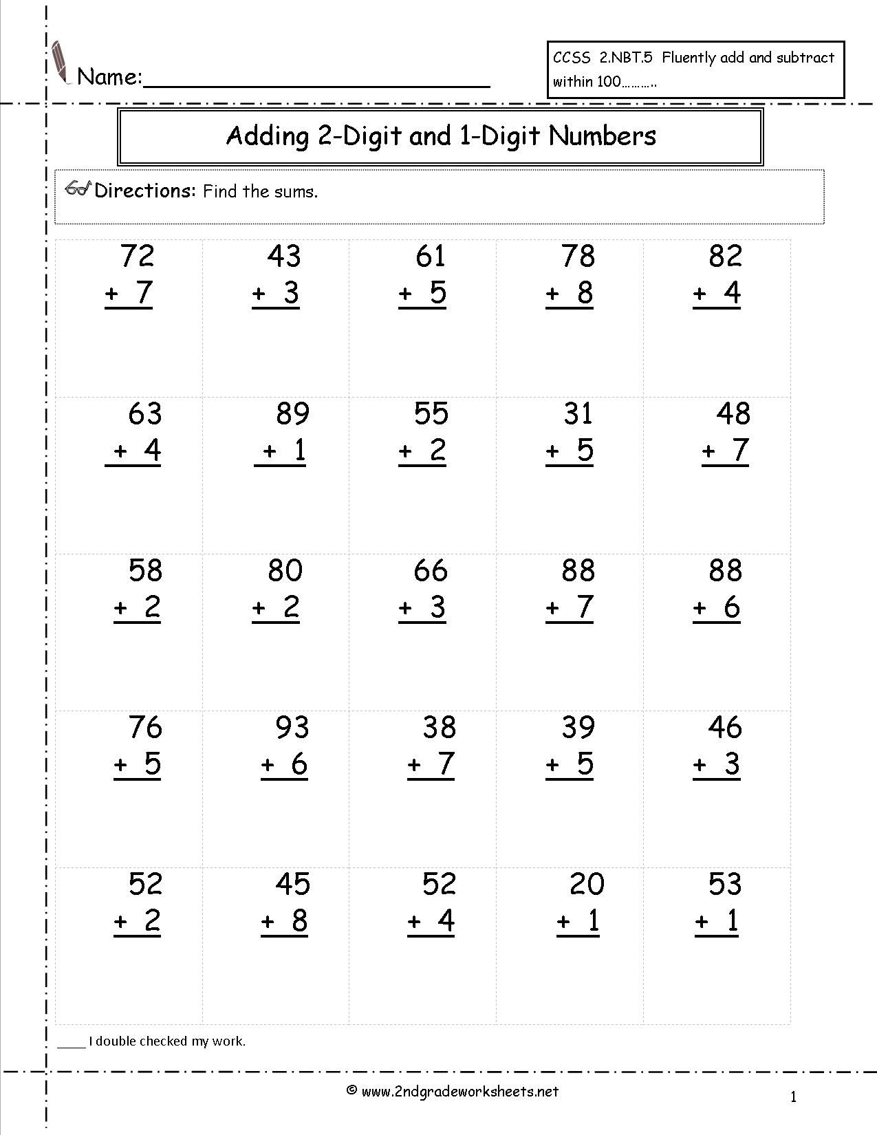Adding Two Digit And One Digit Numbers | Satta | Pinterest - Free Printable Two Digit Addition Worksheets