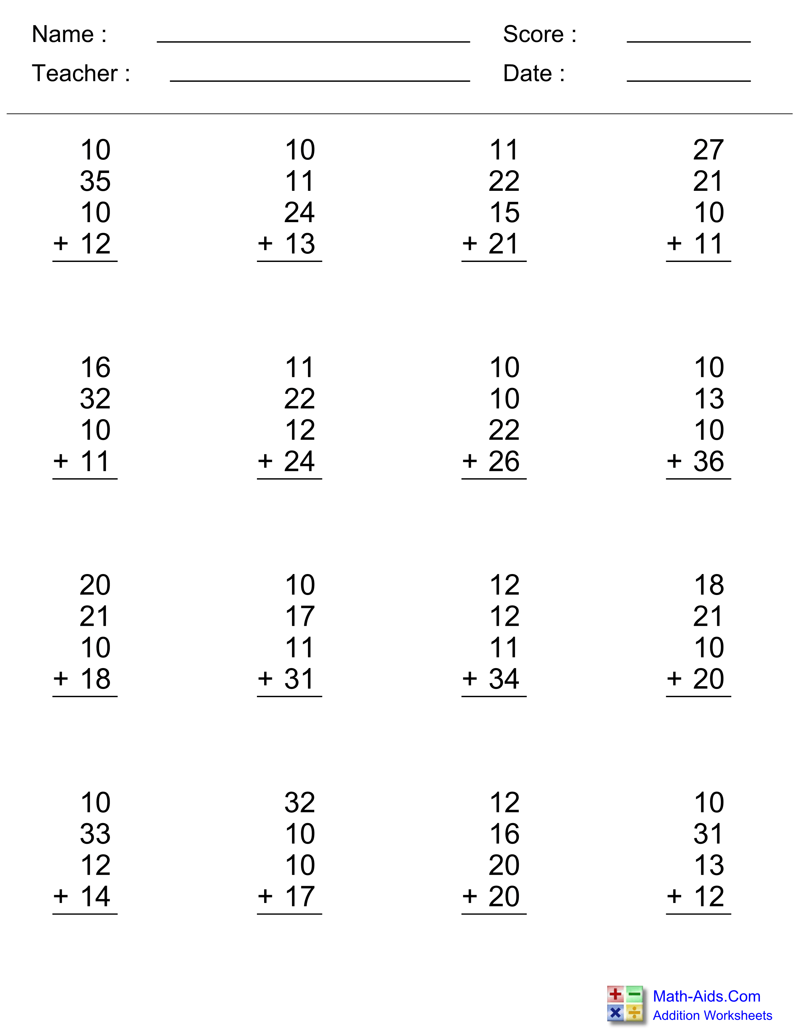 Addition Worksheets | Dynamically Created Addition Worksheets - Free Printable Two Digit Addition Worksheets