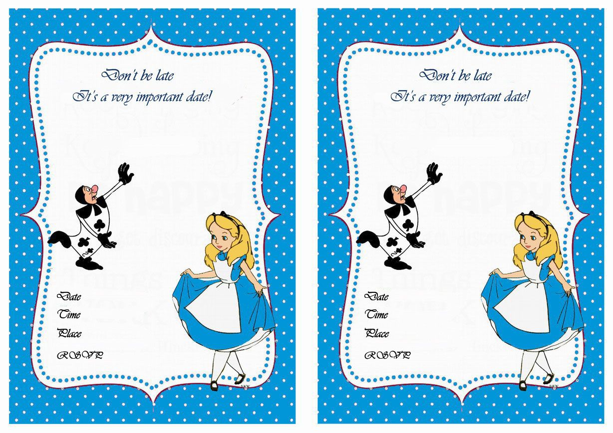 Alice In Wonderland Free Printable Birthday Party Invitations - Mad Hatter Tea Party Invitations Free Printable