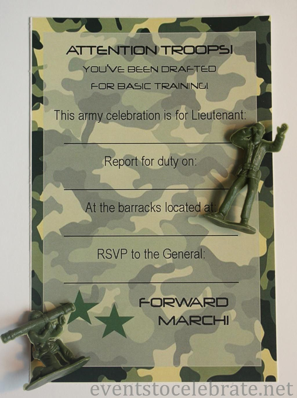 Army Birthday Party Invitations Free Printable | Kids Birthday - Free Printable Camouflage Invitations