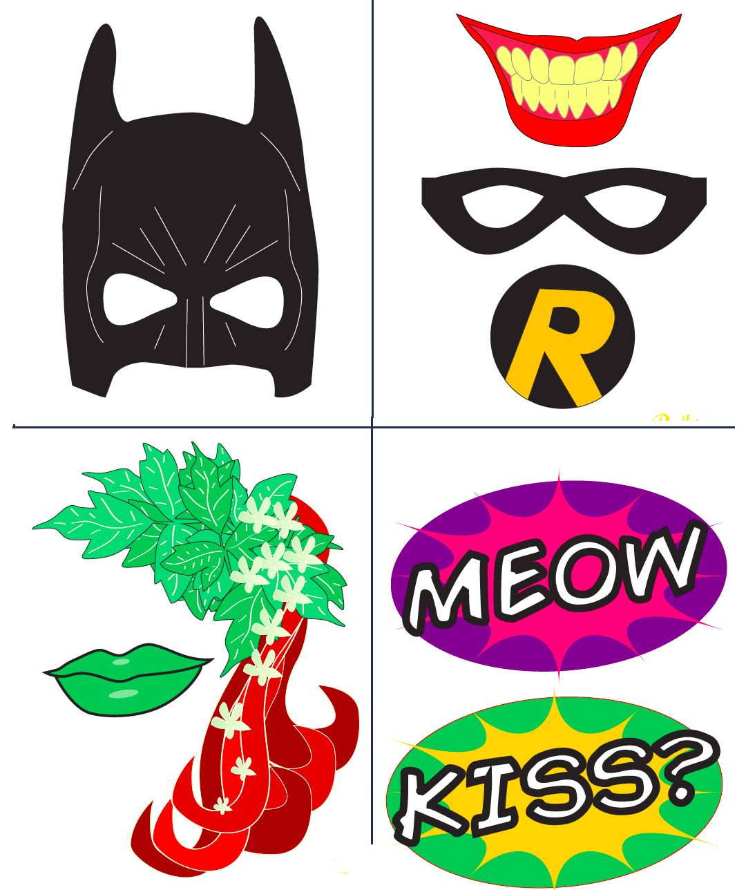 Batman Party With Free Photobooth Mask + Prop Printables | Birthday - Free Printable Superhero Photo Booth Props