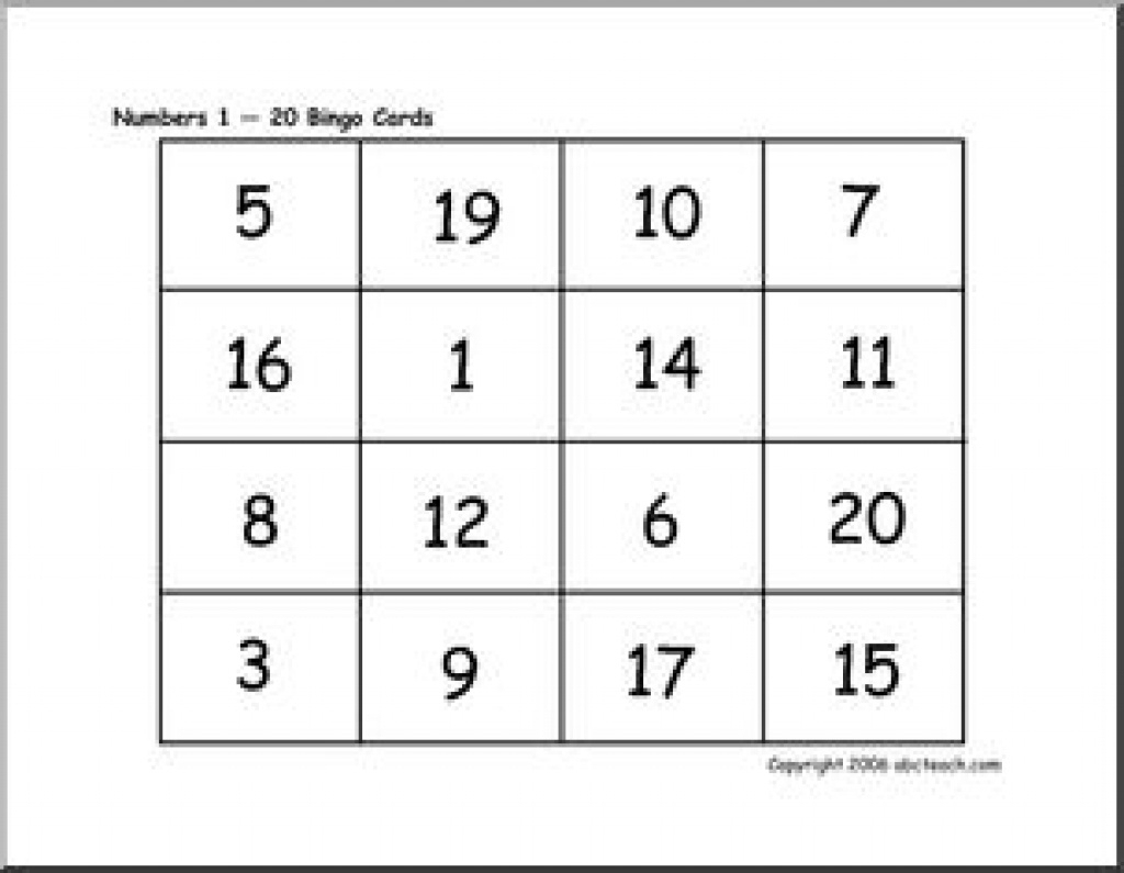 Bingo Cards: Numbers 1-20 | Abcteach Throughout Free Printable - Free Printable Bingo Cards With Numbers