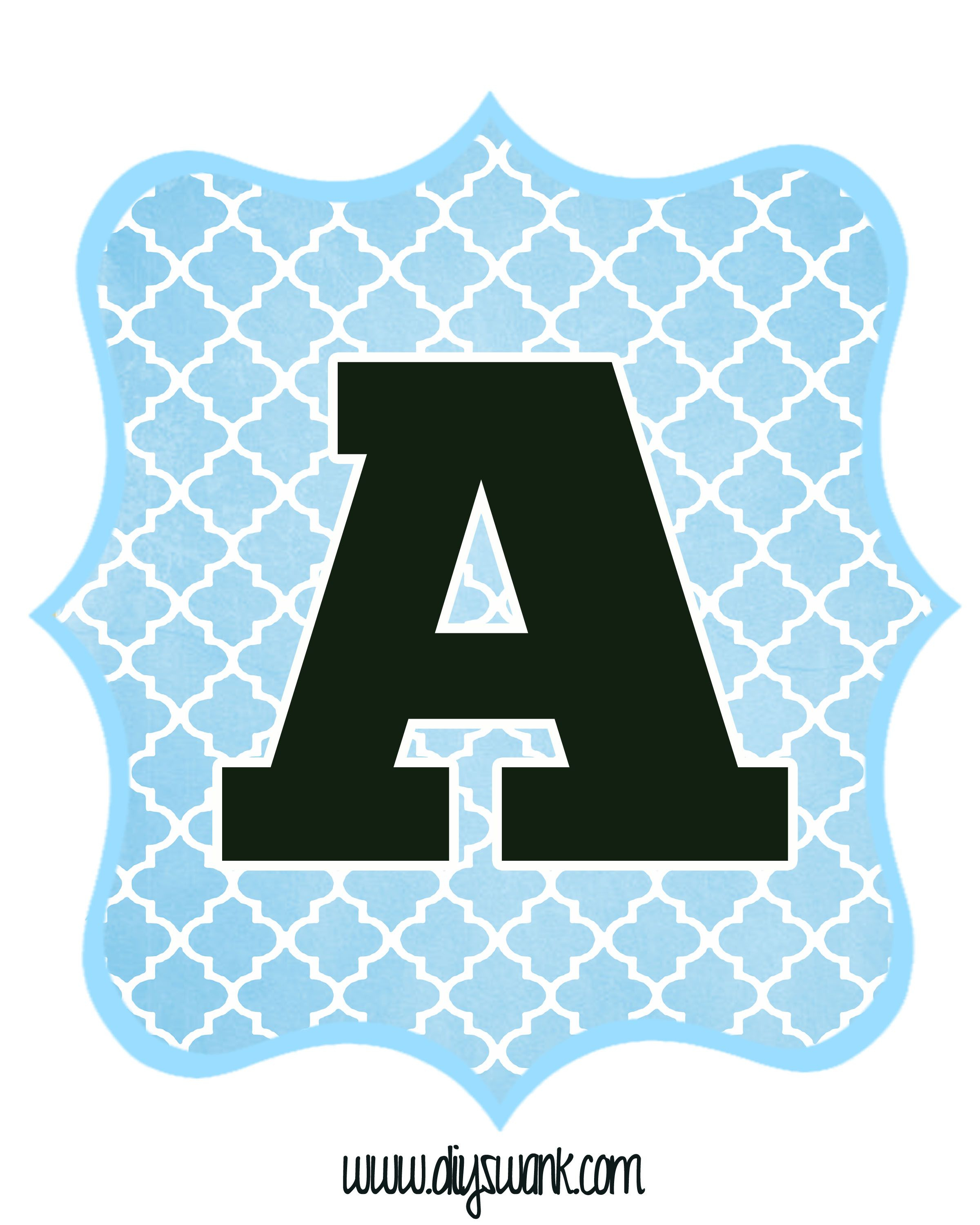 Blue And Black Printable Letters For Banners | Letters | Pinterest - Free Printable Alphabet Letters For Banners