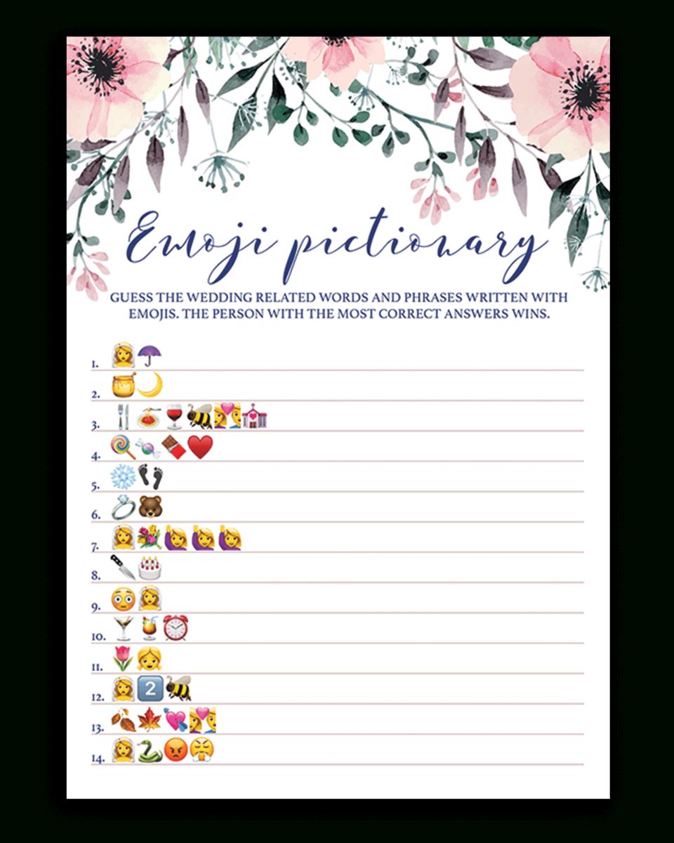 Blush Floral Bridal Shower Emoji Pictionary Game Printable - Wedding Emoji Pictionary Free Printable