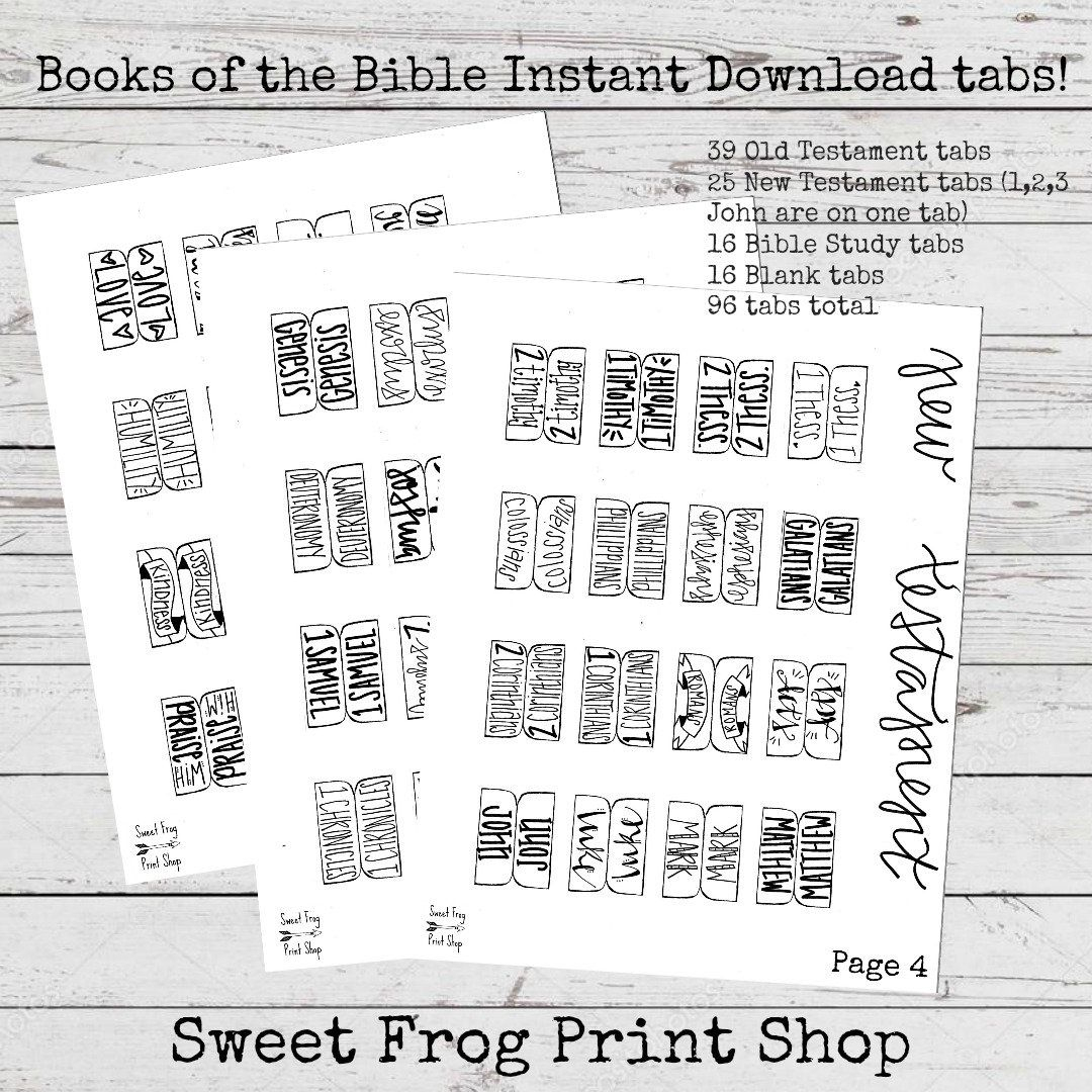 Books Of The Bible Tabs Freebie New Test. And Old Test.   Etsy - Free Printable Books Of The Bible Tabs