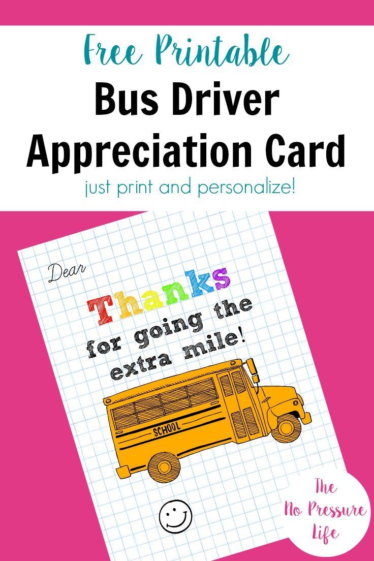 Bus Driver Appreciation Card: Free Printable! | Free Printables - Nurses Week 2016 Cards Free Printable