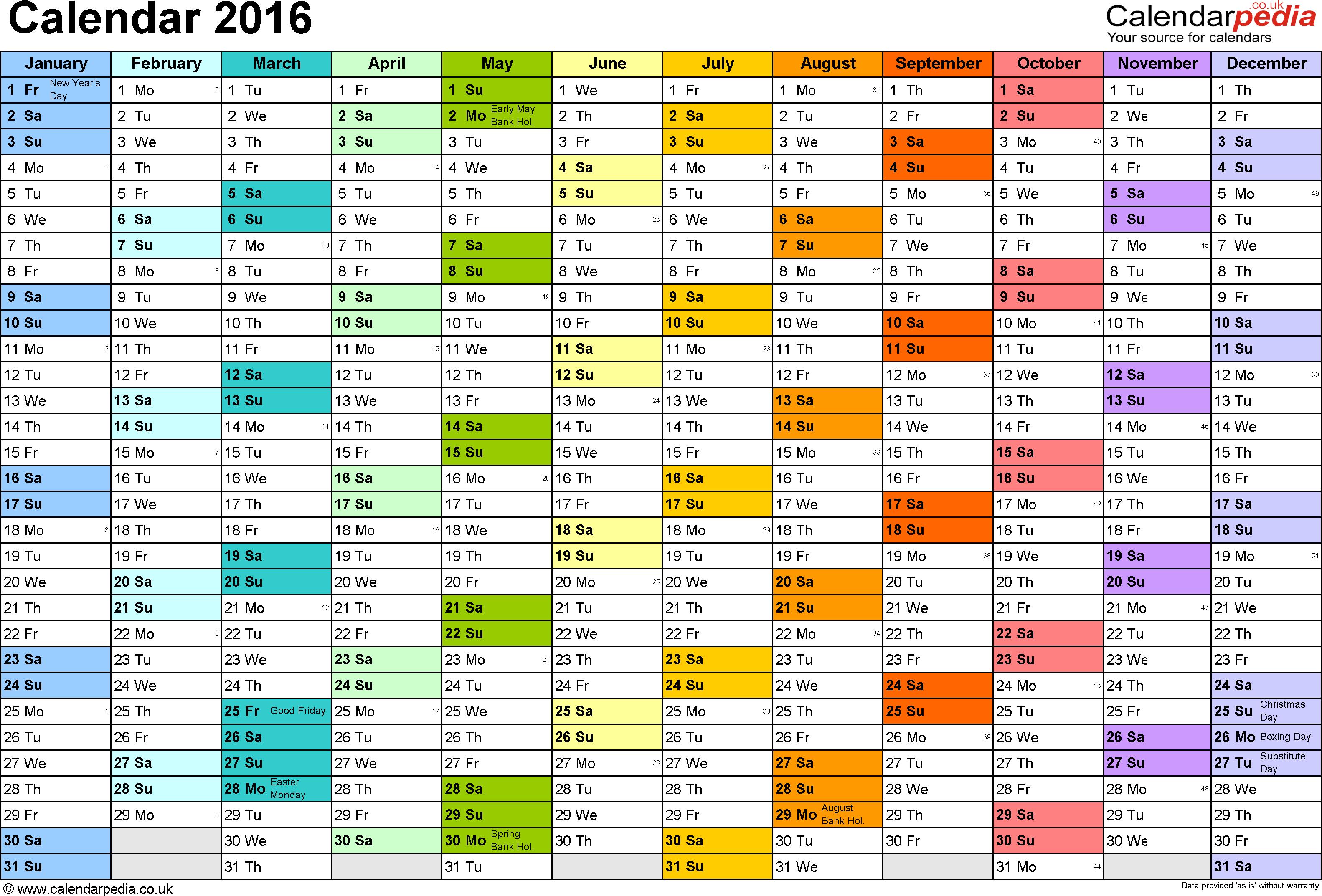 Calendar 2016 (Uk) - 16 Free Printable Word Templates - Free Printable Monthly Planner 2016