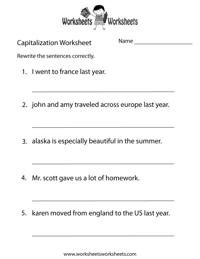 Capitalization Worksheets   Capitalization Practice Worksheet - Free - Free Printable Grammar Worksheets For 2Nd Grade