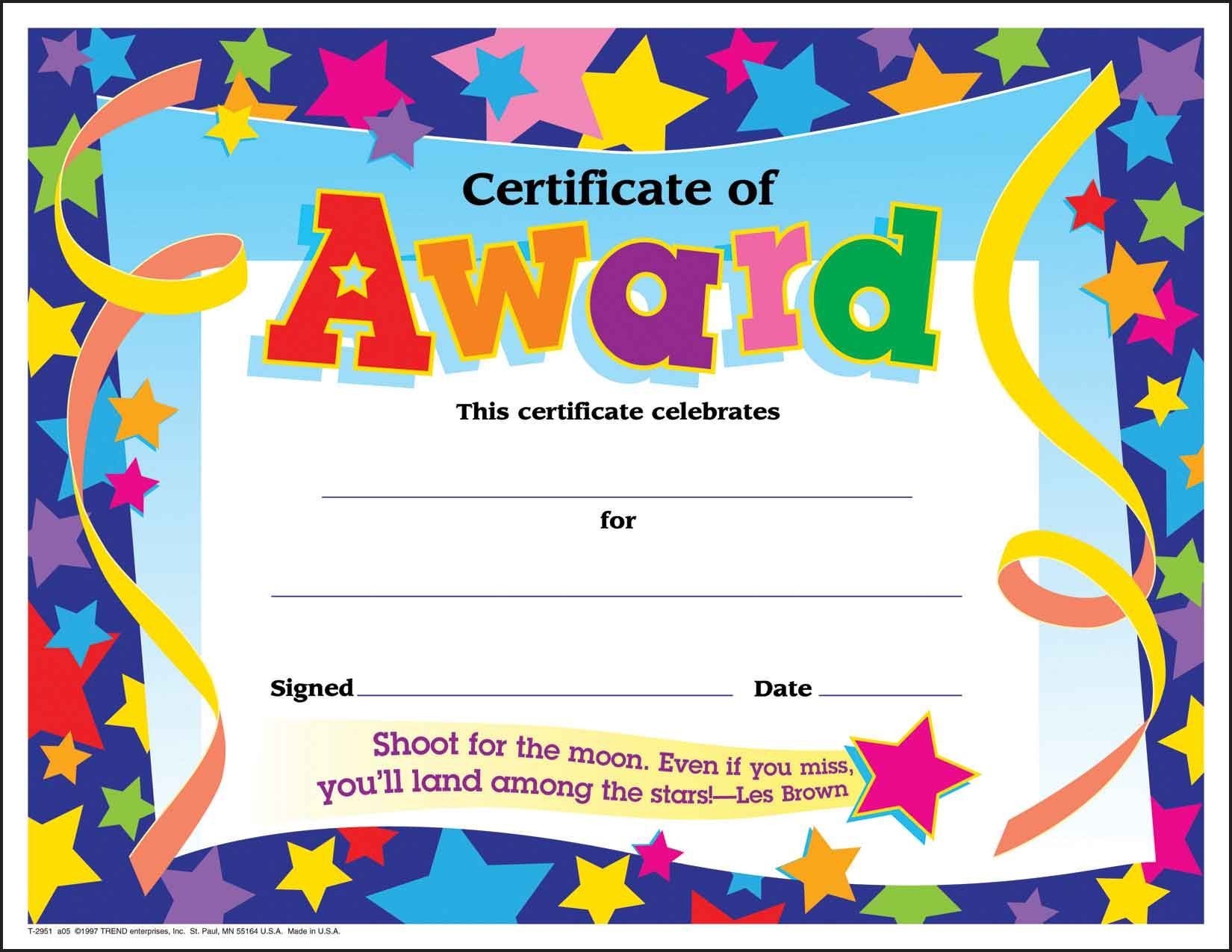 Certificate Template For Kids Free Certificate Templates - Free Printable Student Award Certificate Template