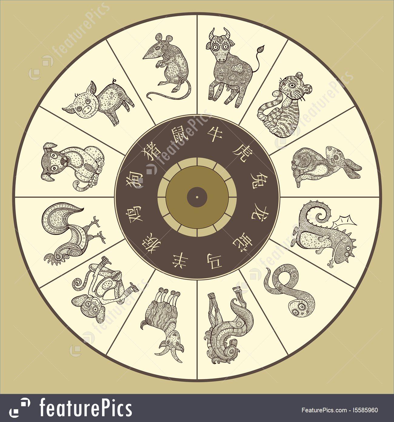 Chinese Zodiac Wheel With Twelve Stock Illustration I5585960 At - Free Printable Chinese Zodiac Wheel