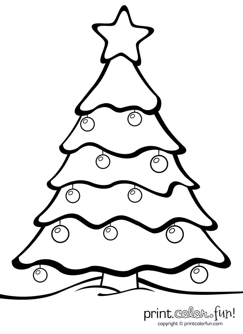 Christmas Tree With Ornaments | Print. Color. Fun! Free Printables - Free Printable Christmas Tree Ornaments To Color