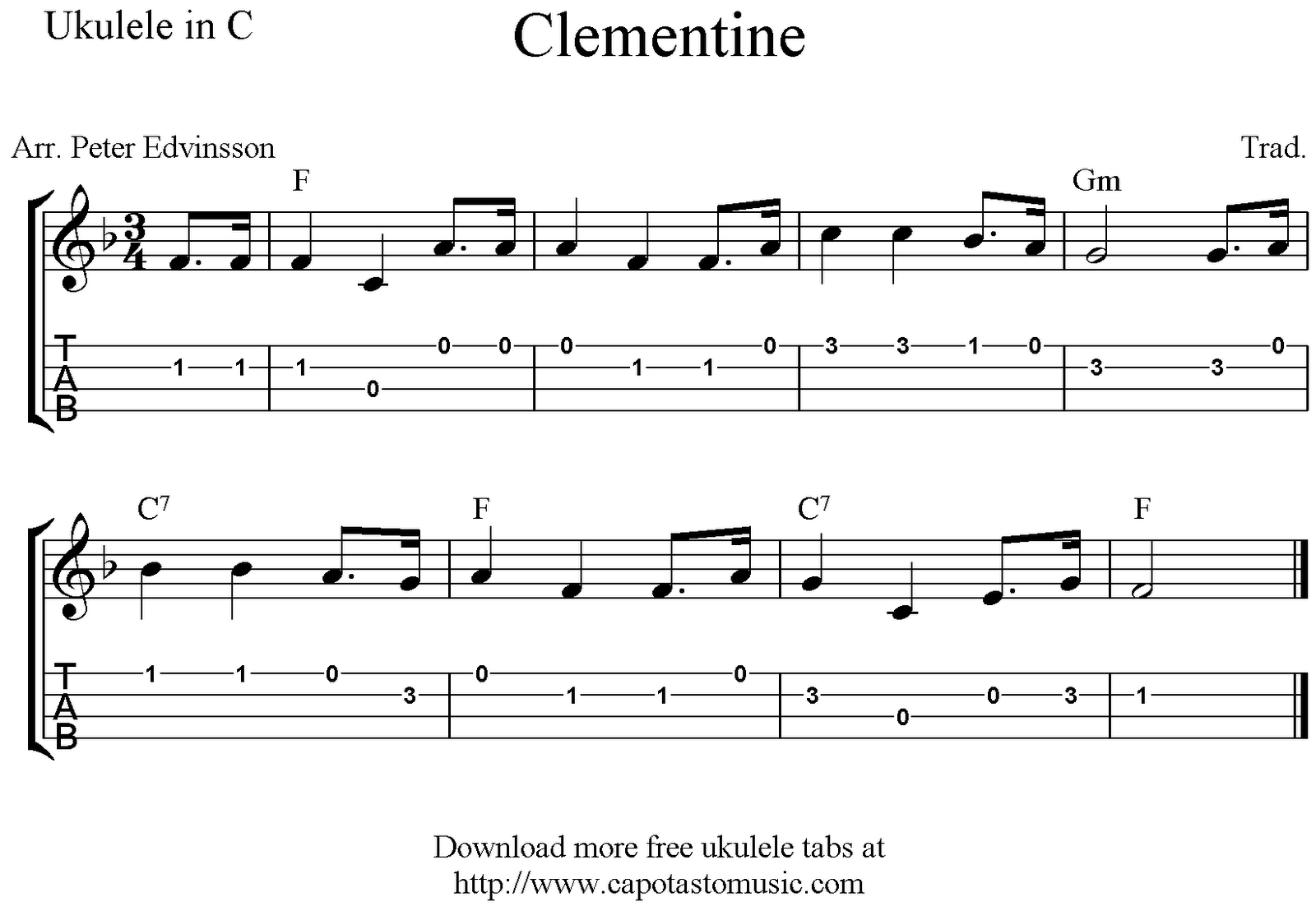 Clementine, Free Easy Ukulele Tab Sheet Music - Free Printable Ukulele Songs
