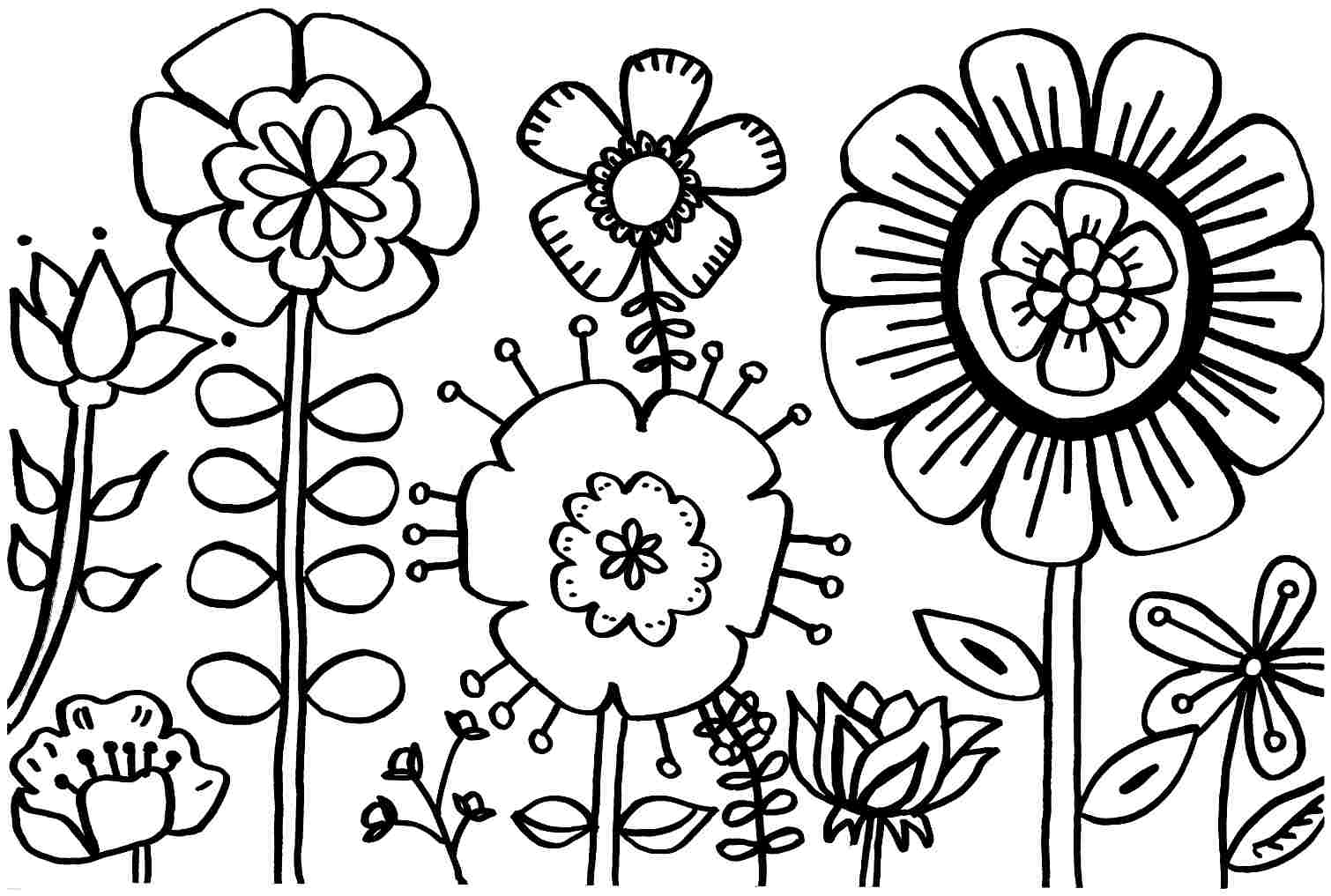 Coloring Pages : Fabulous Spring Flower Coloring Pages Flowers To - Free Printable Flower Coloring Pages