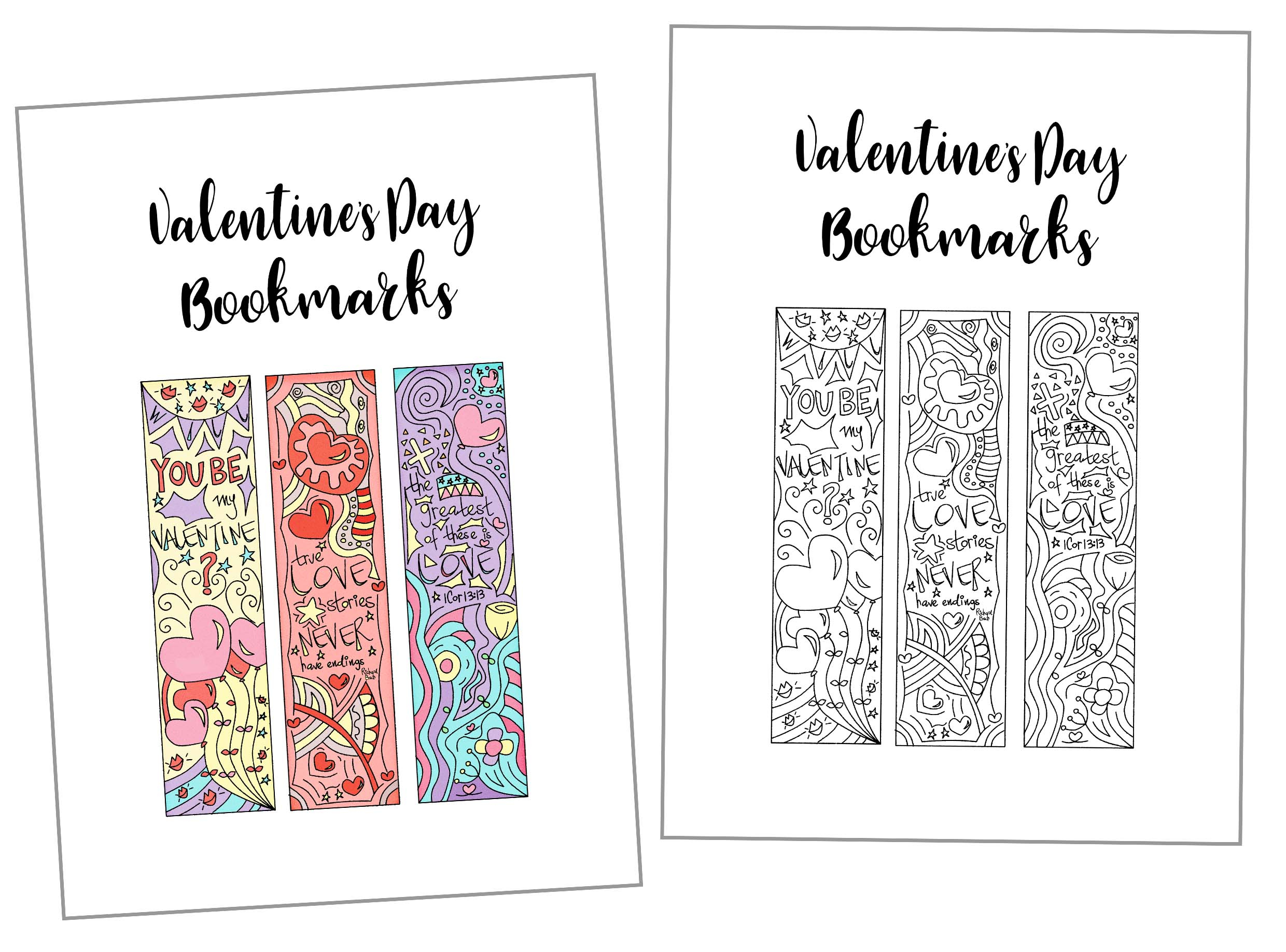 Coloring Valentine's Day Bookmarks Free Printable ~ Daydream Into - Free Printable Valentine Bookmarks