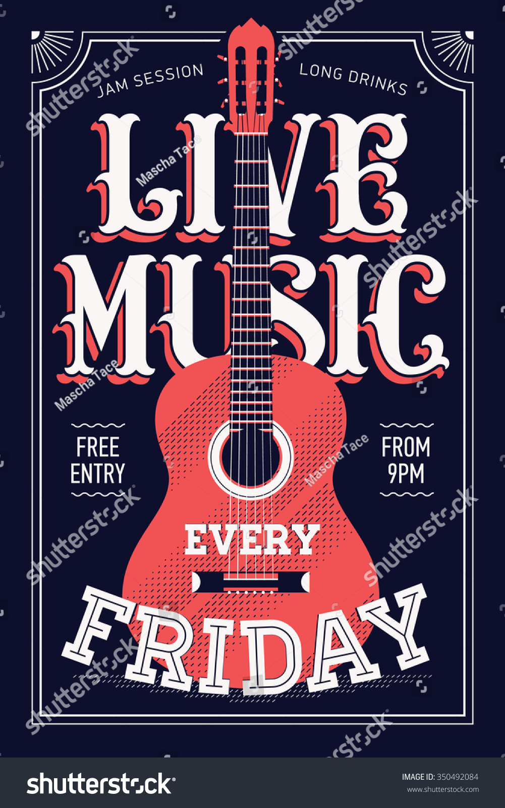 Cool Live Music Every Friday Vector Stock Vector (Royalty Free - Free Printable Music Posters