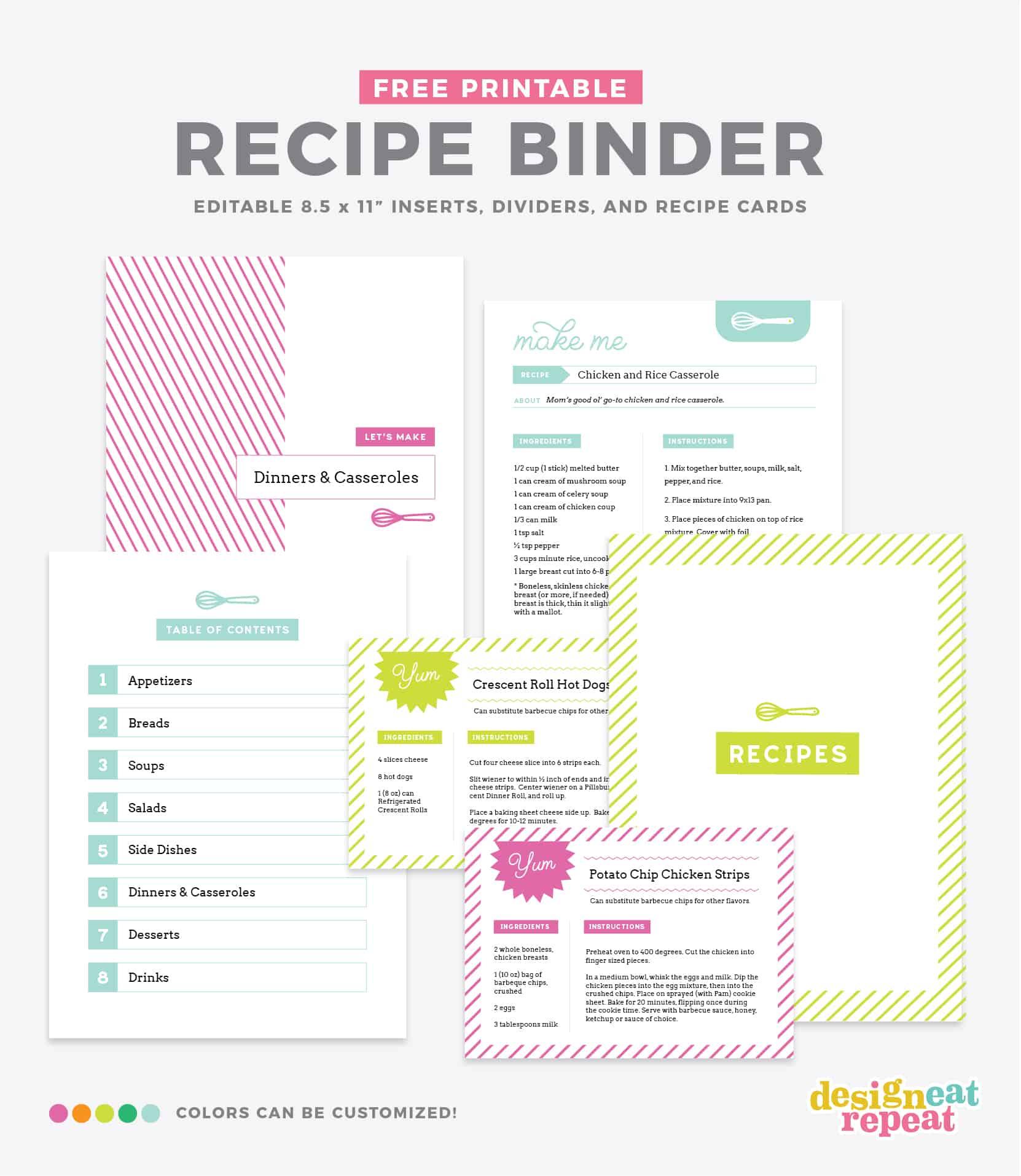 Diy Recipe Book (With Free Printable Recipe Binder Kit!) - Free Printable Recipes