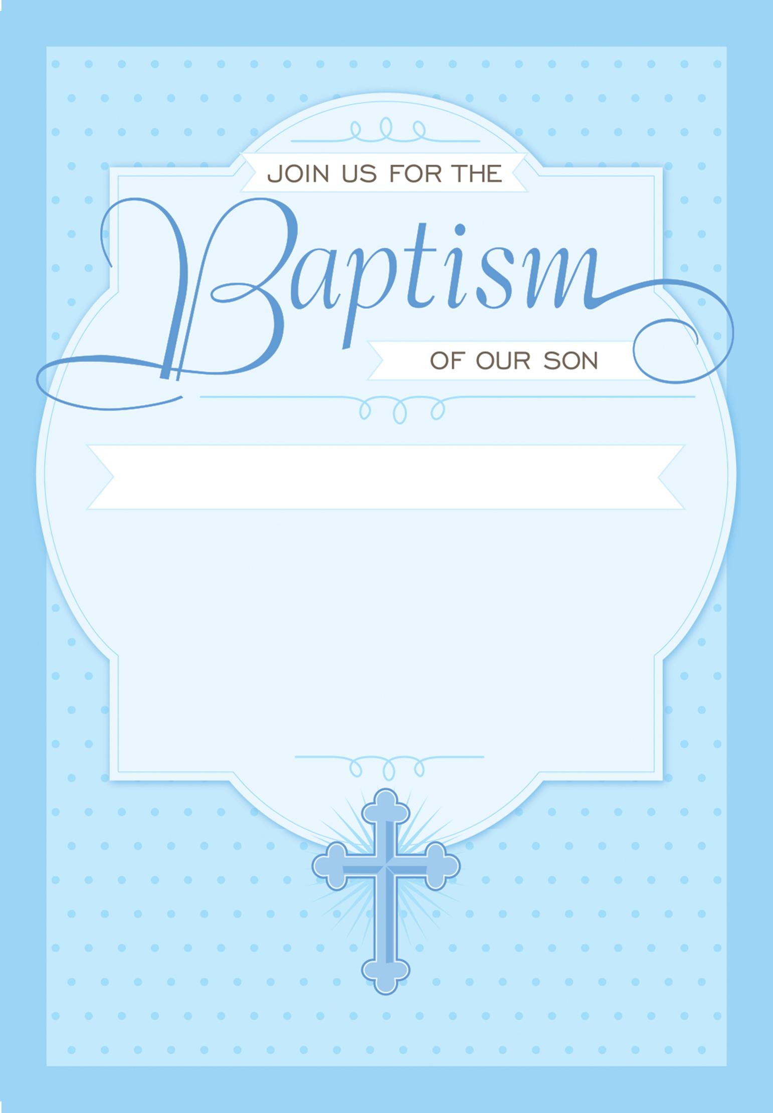 Dotted Blue - Free Printable Baptism & Christening Invitation - Free Printable Baptism Greeting Cards