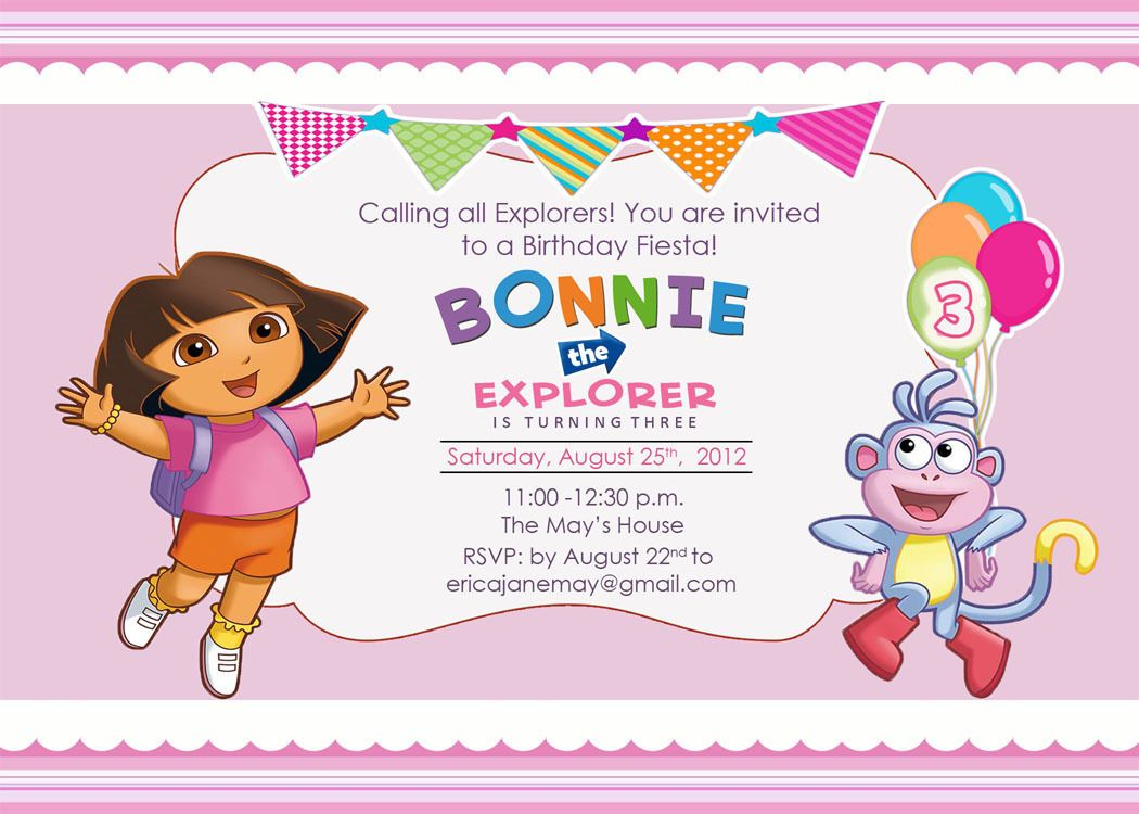 Download Free Template Dora The Explorer Birthday Party Invitations - Dora The Explorer Free Printable Invitations