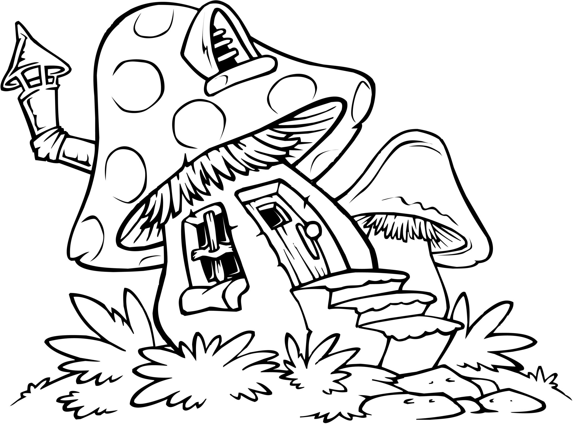 Easy Coloring Pages   Zendoodles For Cards   Pinterest   House - Free Printable Mushroom Coloring Pages