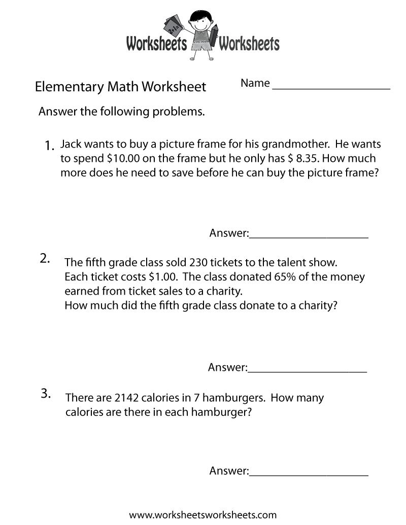 Elementary Math Word Problems Worksheet - Free Printable Educational - Free Printable Math Word Problems