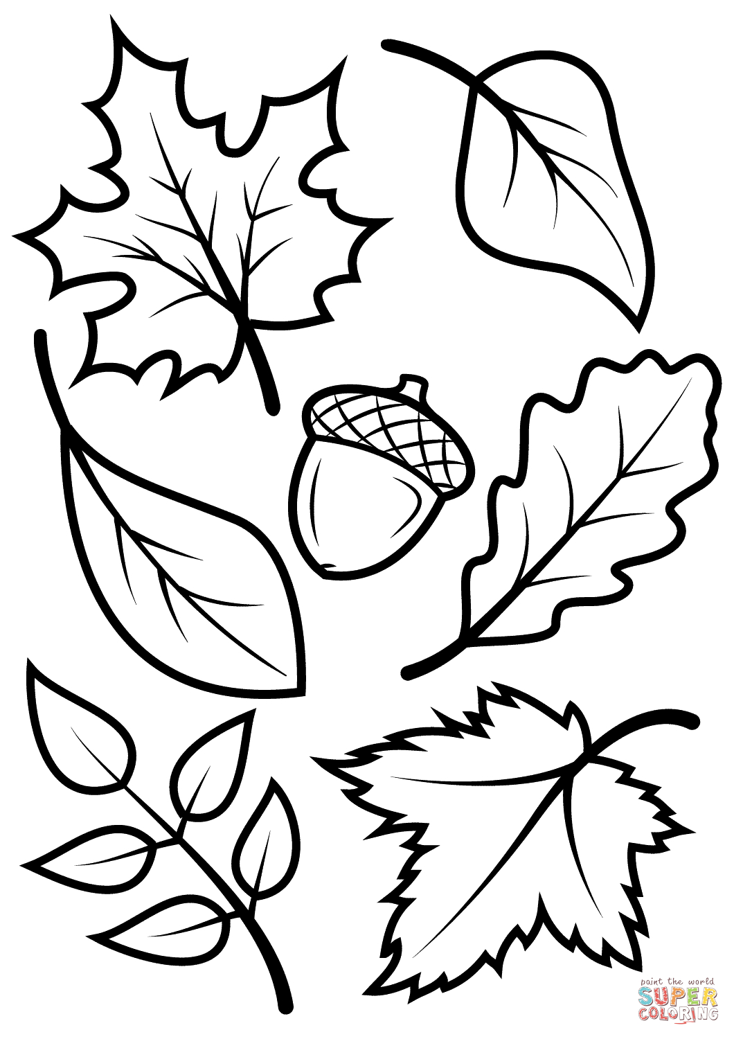 Fall Leaves And Acorn Coloring Page | Free Printable Coloring Pages - Free Printable Fall Leaves Coloring Pages