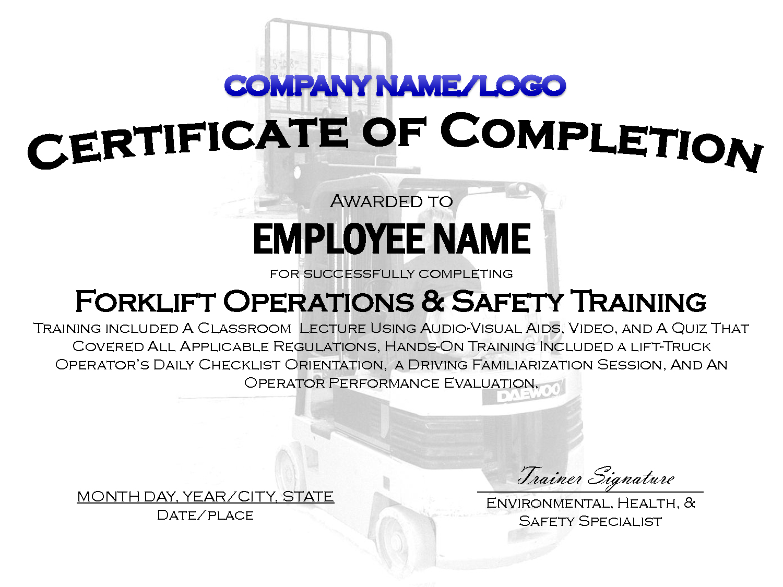 Forklift Certification Card Template Popular Free Forklift - Free Printable Forklift License Template