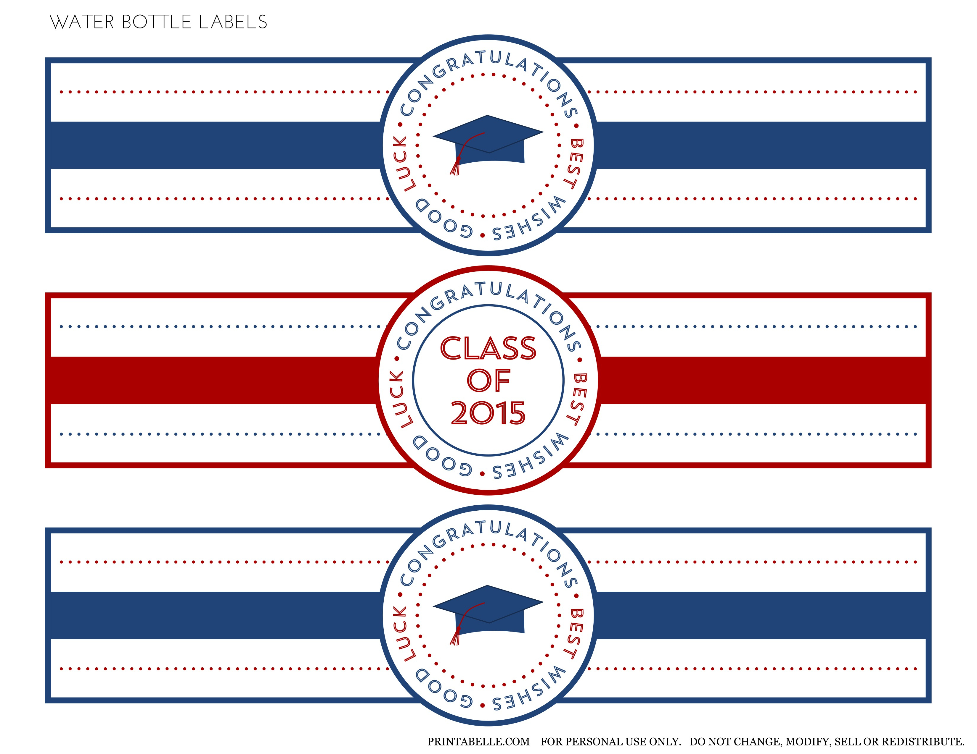 Free 2015 Graduation Printables | Catch My Party - Free Printable Water Bottle Labels Graduation