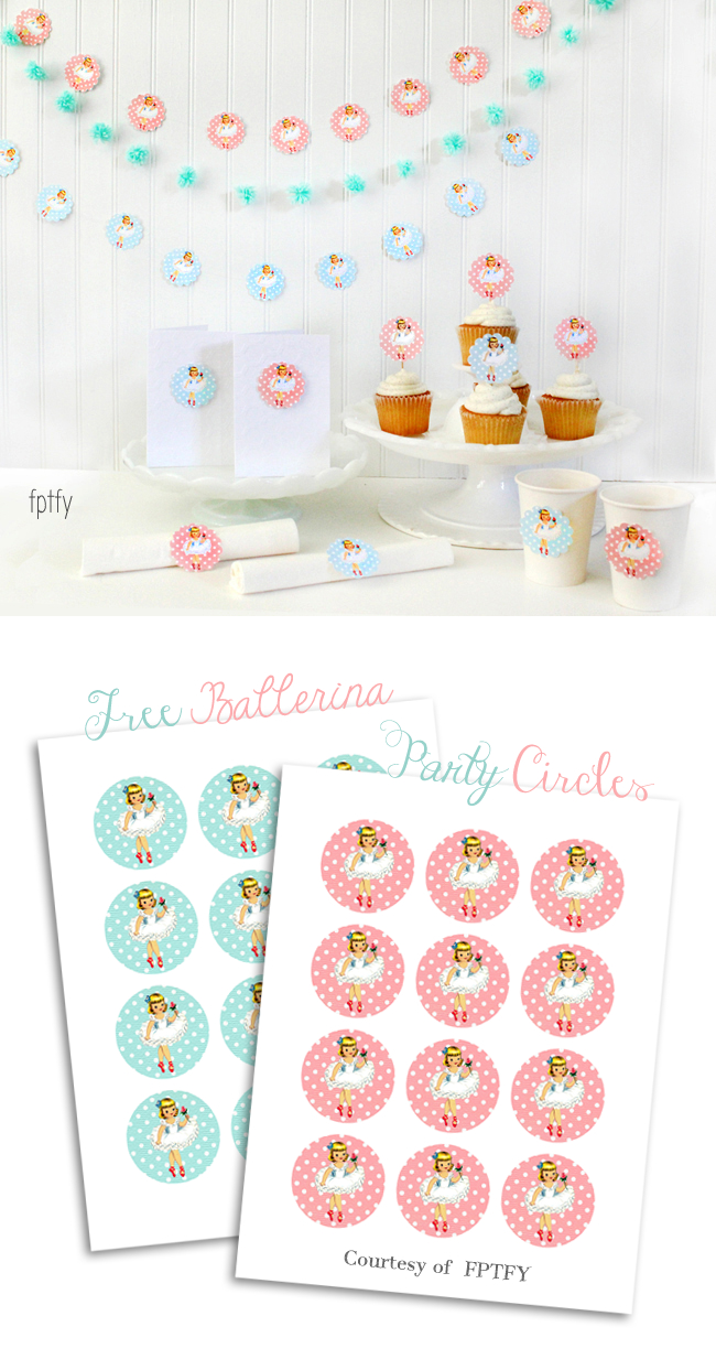 Free Ballerina Party Printable Circles - Free Printable Ballerina Birthday Invitations