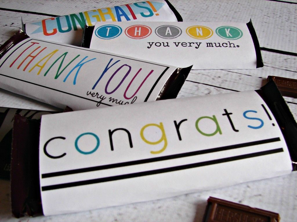 Free Candy Bar Wrapper Thank You (And Congrats) Printables | Just My - Free Printable Hershey Bar Wrappers