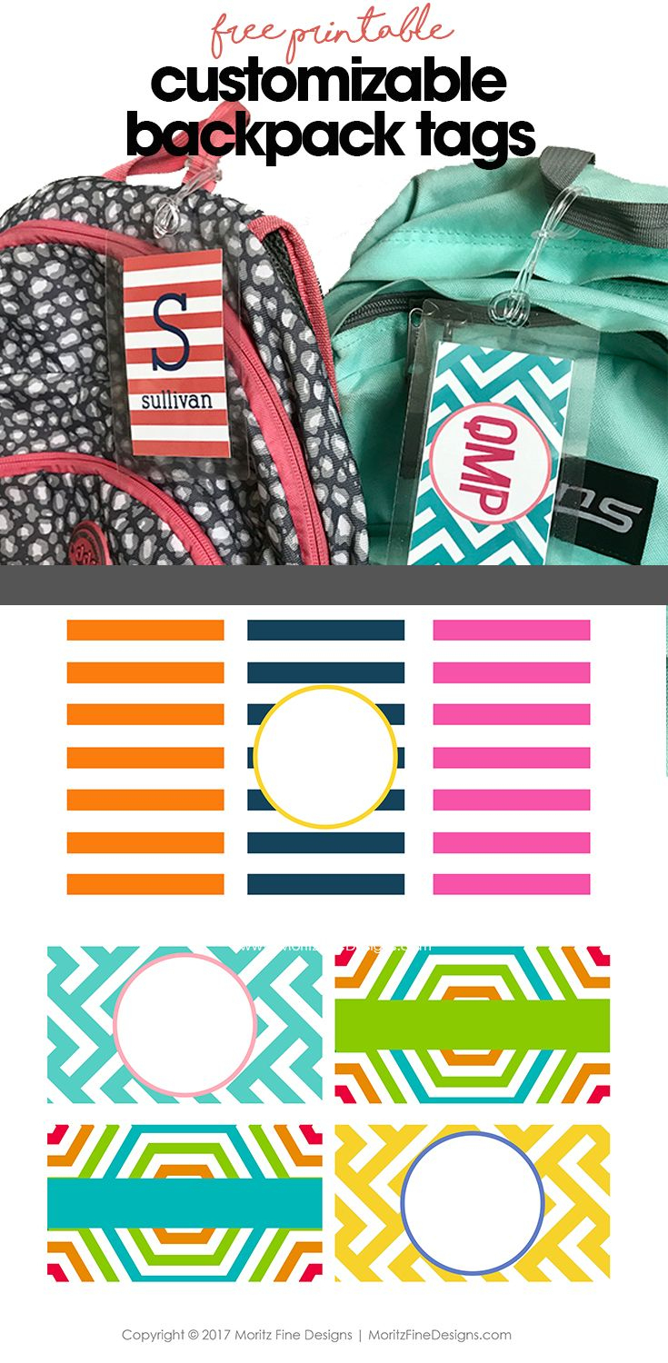 Free Customizable Backpack Tags   Printables   Pinterest   Backpack - Free Customized Name Tags Printable