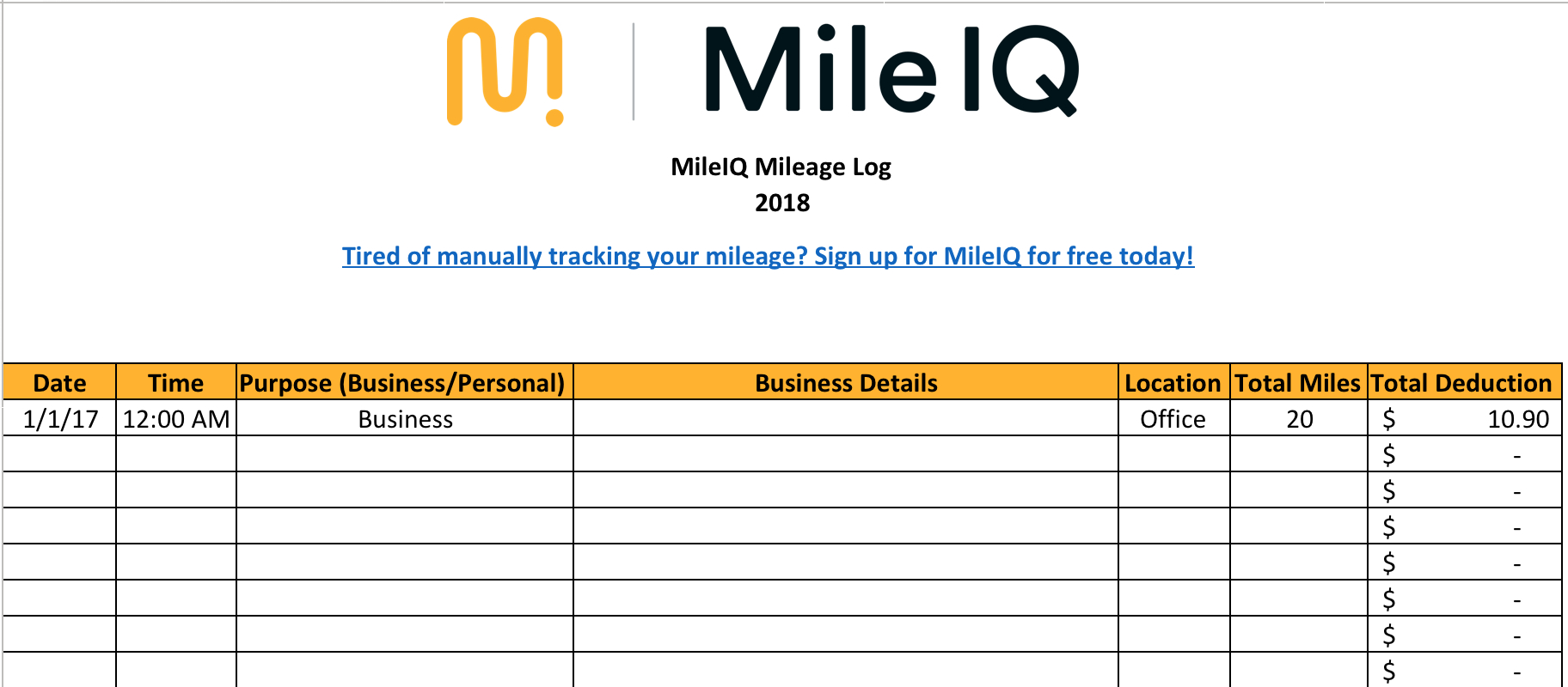 Free Mileage Log Template For Excel - Track Your Miles - Free Printable Mileage Log