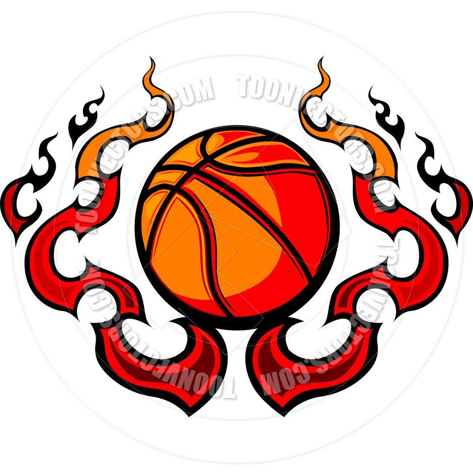 Free Printable Basketball Clip Art   Basketball Template With Flames - Free Printable Basketball Court