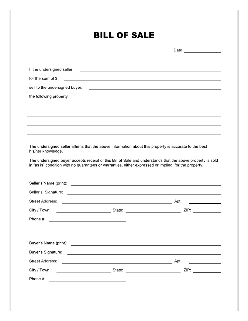 Free Printable Blank Bill Of Sale Form Template - As Is Bill Of Sale - Free Printable Texas Bill Of Sale Form
