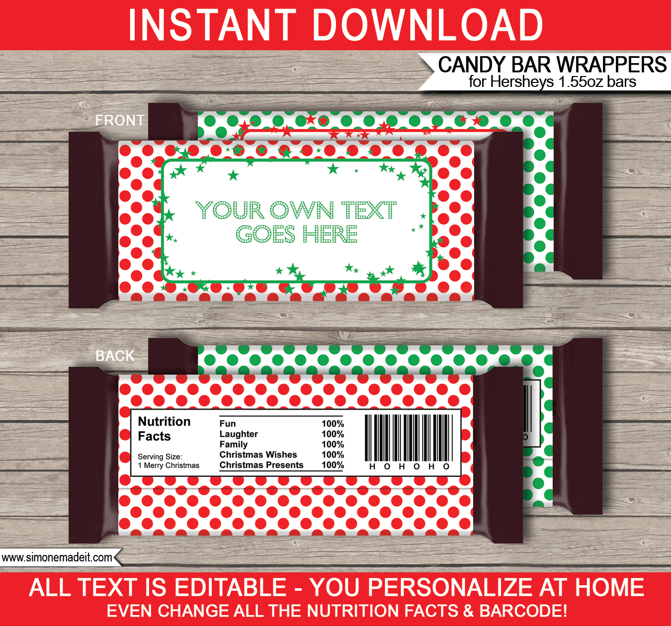 Free Printable Candy Bar Wrappers Templates Christmas – Festival - Free Printable Christmas Candy Bar Wrappers