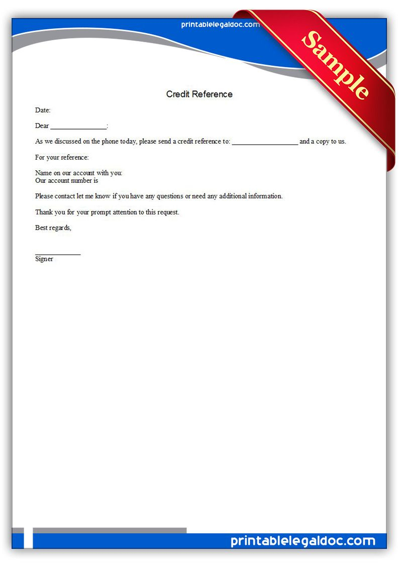 Free Printable Credit Reference Legal Forms | Free Legal Forms - Free Legal Forms Online Printable