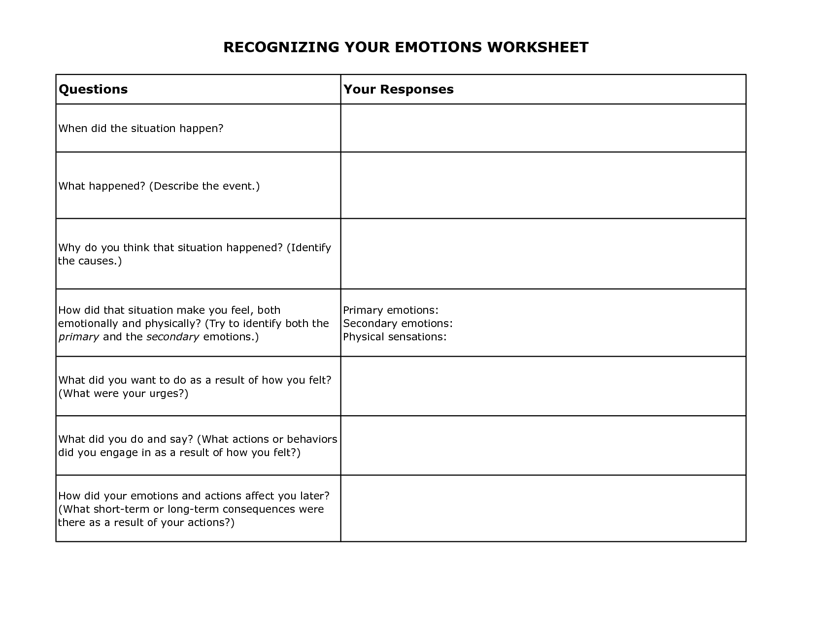 Free Printable Dbt Worksheets   Recognizing Your Emotions Worksheet - Free Printable Coping Skills Worksheets For Adults