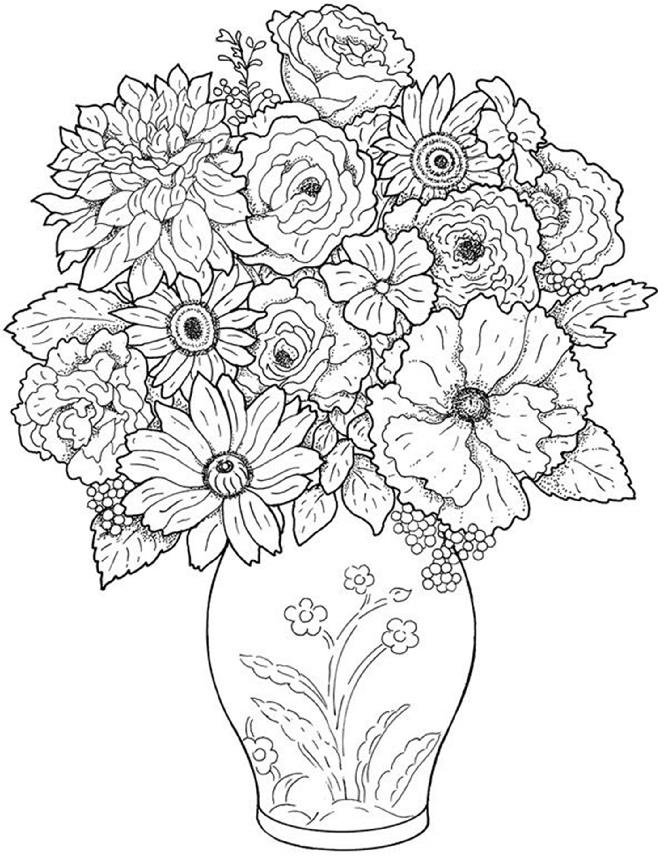 Free Printable Flowers Coloring Pages #10520 - Free Printable Flower Coloring Pages