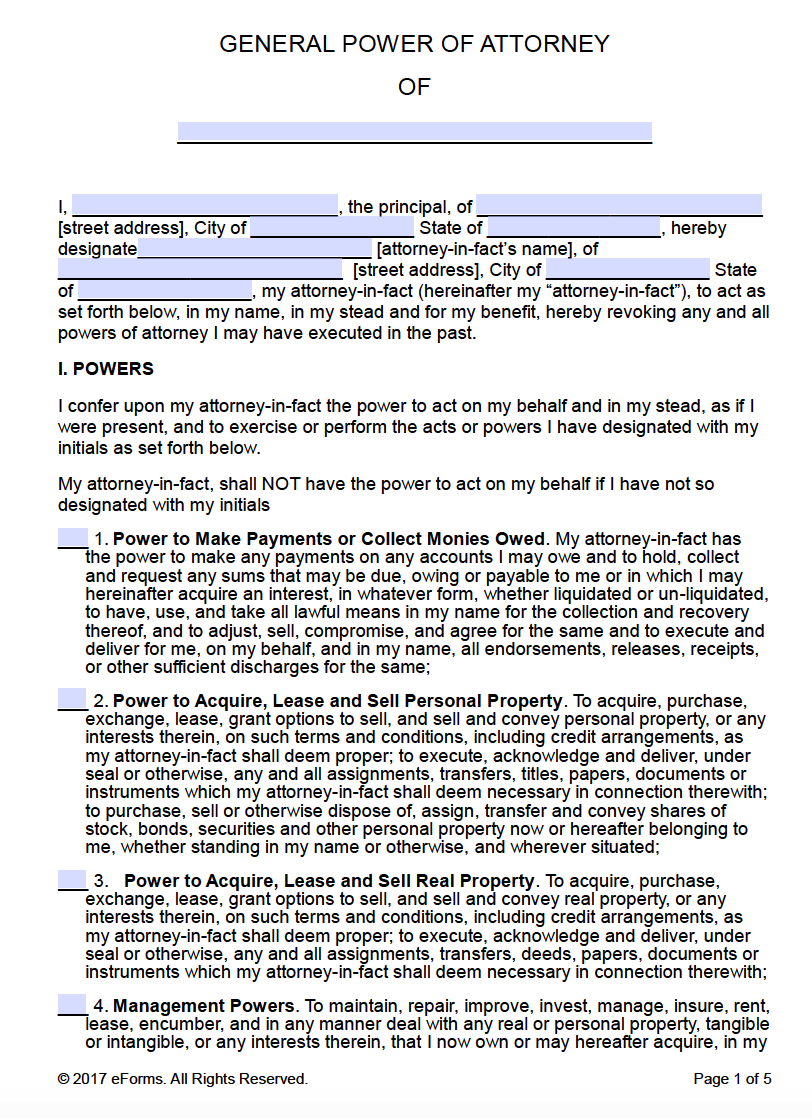 Free Printable General Power Of Attorney Forms - Free Printable Power Of Attorney Form Florida