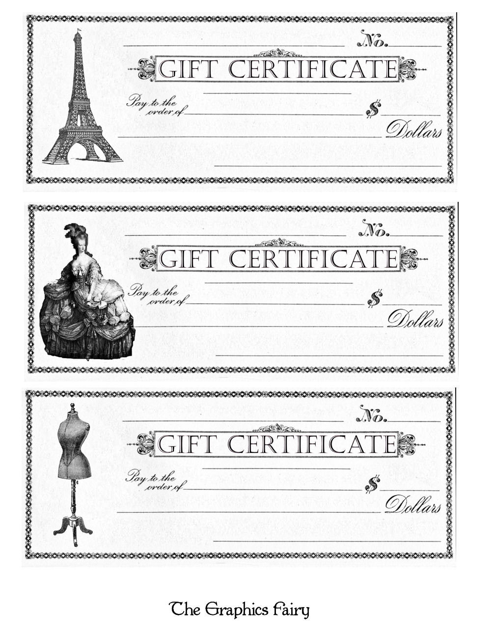 Free Printable - Gift Certificates - The Graphics Fairy - Free Printable Gift Coupons