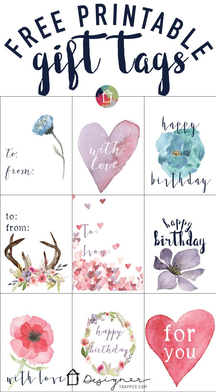 Free Printable Gift Tags For Birthdays   Designertrapped - Free Printable Favor Tags