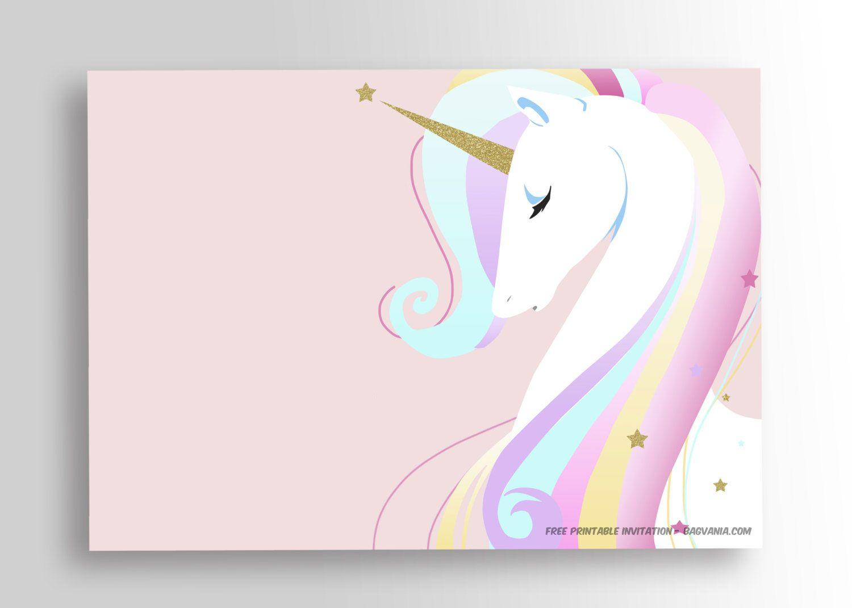 Free Printable Golden Unicorn Birthday Invitation | Party - Free Printable Unicorn Invitations