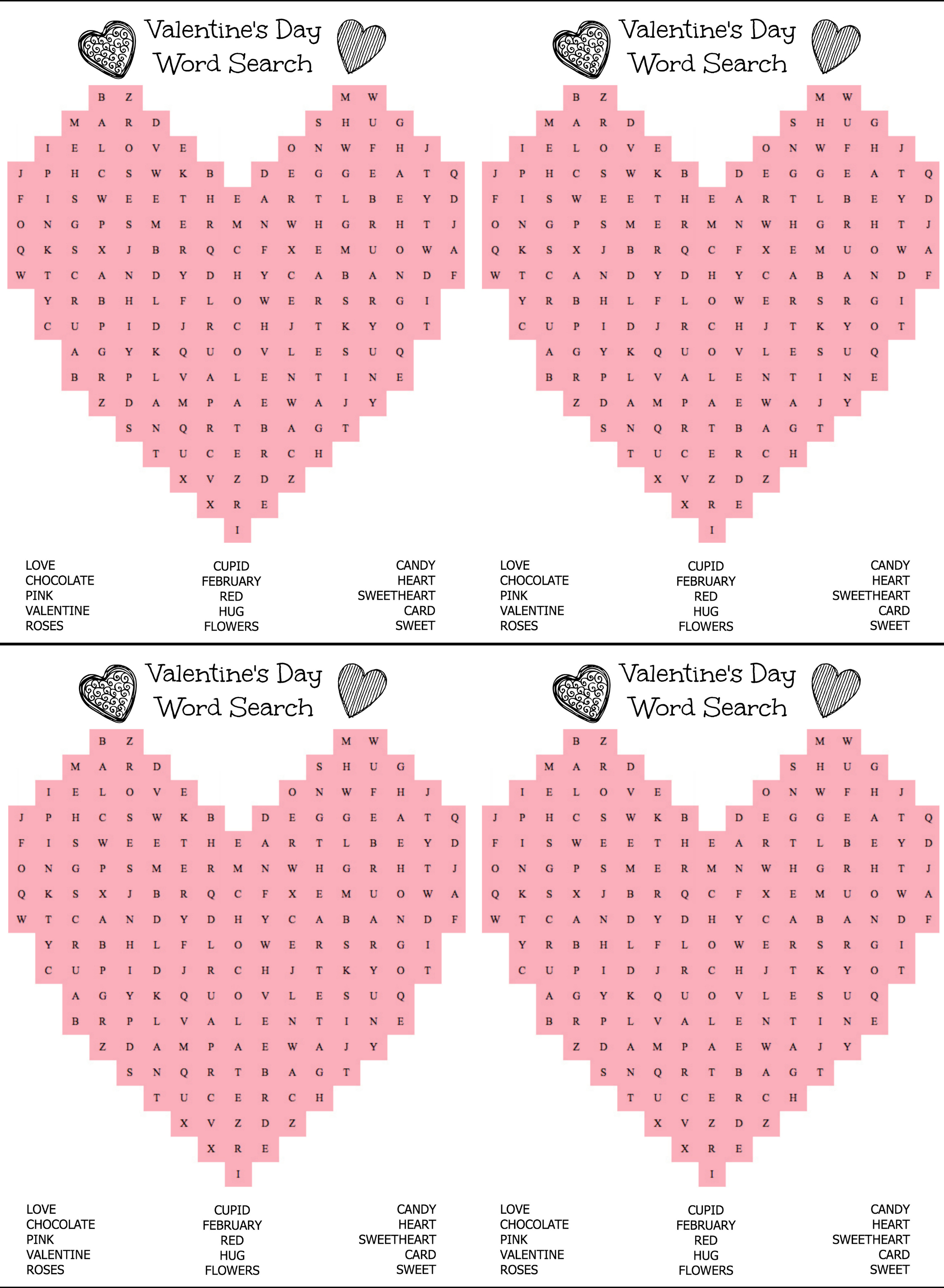 Free Printable Heart Shaped Valentine's Day Word Search For Kids - Free Printable Valentine Word Search For Adults