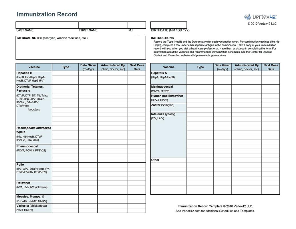 Free Printable Immunization Record (Pdf) From Vertex42 | Puppies - Free Printable Pet Health Record
