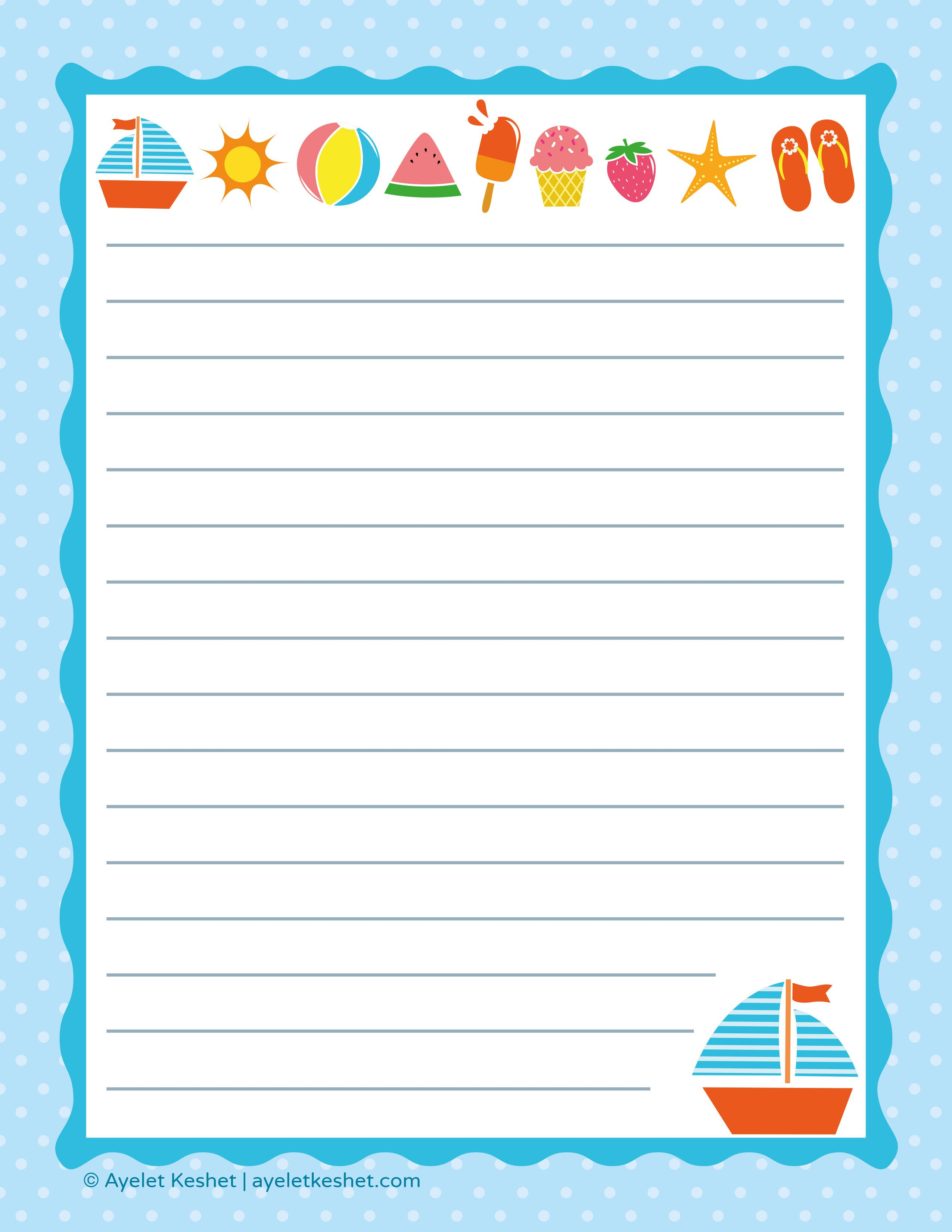 Free Printable Letter Paper - Ayelet Keshet - Free Printable Stationery Writing Paper