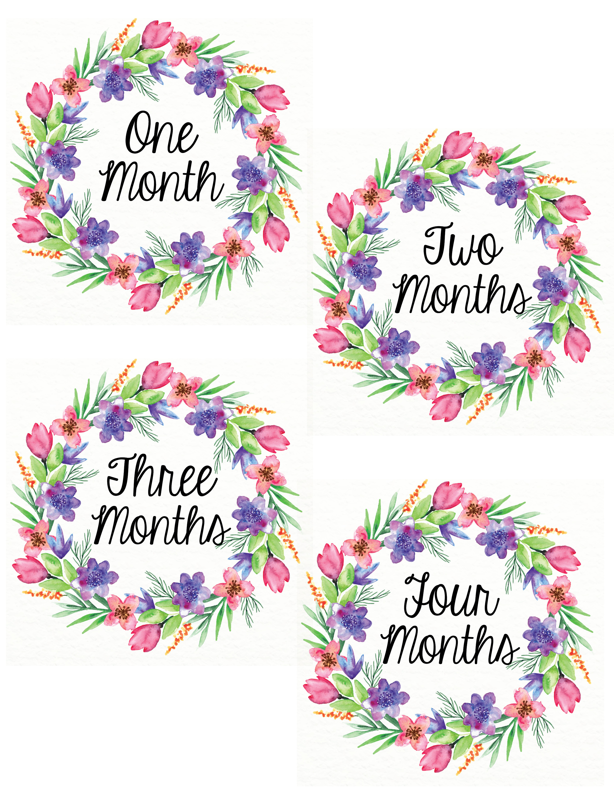 Free Printable Monthly Baby Girl Belly Stickers – Wonderfully Eccentric - Free Printable Baby Month Stickers